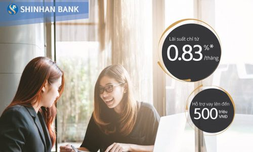 Vay tiền Shinhan Bank; khoản vay tối đa 300 triệu, 36 tháng